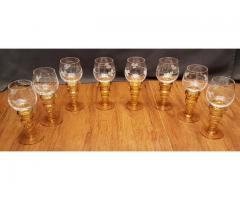 Set of 8 Amber Stemmed Cordial Glasses by Theresienthal Grap...