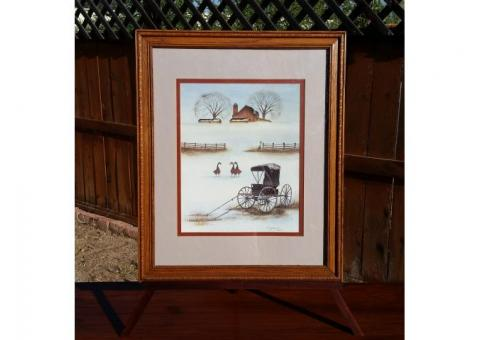 B. Sienkiewicz Framed & Matted Print Buggy Geese Barn Country Scene
