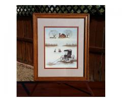 B. Sienkiewicz Framed & Matted Print Buggy Geese Barn Countr...