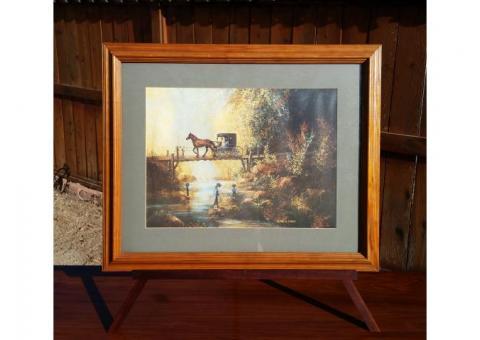 Al Koenig 1992 Framed & Matted Print Horse & Buggy Bridge Fishing