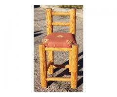 Rustic Southwestern Log Barstool Solid Wood Accent Chair