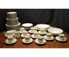 Buena Vista 74 Piece China Set Service for 10 Blue & Gray Fl...