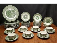 The Old Curiosity Shop Green 50 Piece China Set Service for 8 by Royal