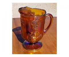 Carnival Glass Indiana ? Amber ? Pitcher Harvest Grapes & Leaves Iridescent Vintage