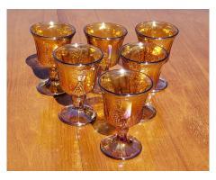 Carnival Glass Indiana ? Amber 6 Glass Set Goblets Harvest Grapes & Leaves Iridescent Vintage