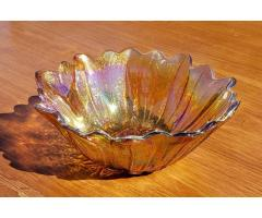 """Carnival Glass Indiana Amber Lily Pons 7"""" Sunflower Bowl Iridescent Vintage"""