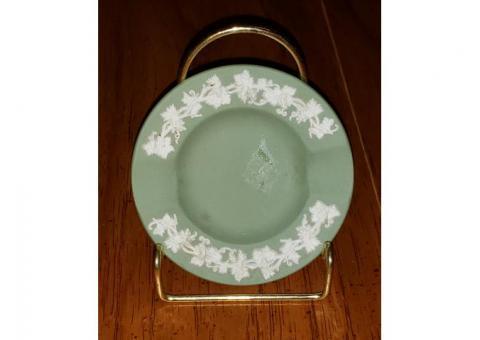 Wedgwood Jasperware GreenAshtray Grapevine Trinket Dish