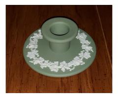 Wedgwood Jasperware Green Grapevine Banquet Candlestick Holder
