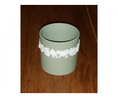 Wedgwood Jasperware Green Cigarette Toothpick Holder Grapevine