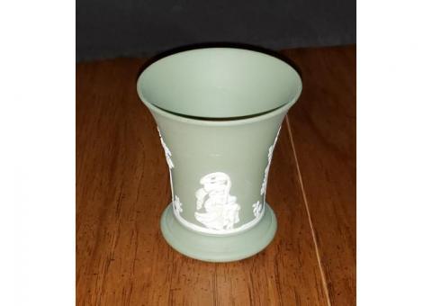 Wedgwood Jasperware Green Posey Pot Vase Beautiful