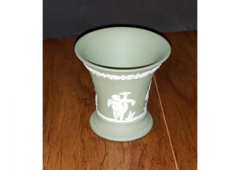 Wedgwood Jasperware Green Posey Pot Vase Cupid