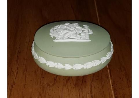 Wedgwood Jasperware Green Oval Apollo Box w/ Lid Candy Trinkets