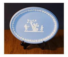 "Wedgwood Jasperware Light Pale Blue Oval Tray Plate 10"" Cupid Psyche"
